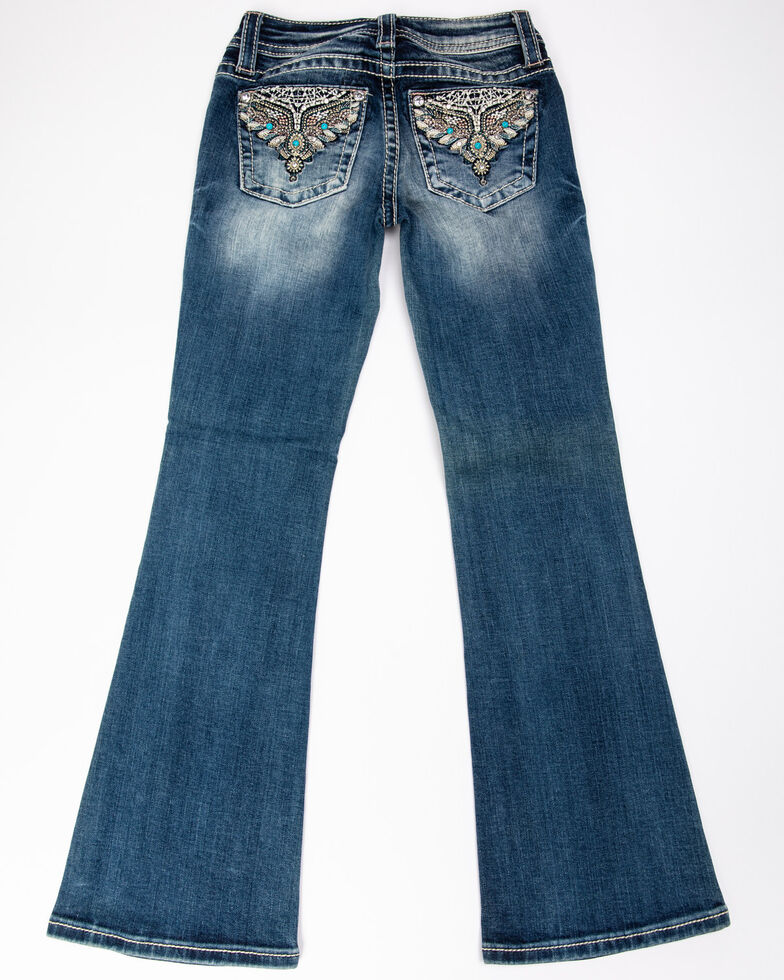 Miss Me Girls' Aztec Turquoise Bootcut Jeans, Blue, hi-res