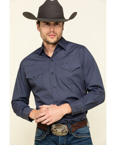 Ely Cattleman Men's Navy/Khaki Geo Print Long Sleeve Western Shirt , Navy, hi-res