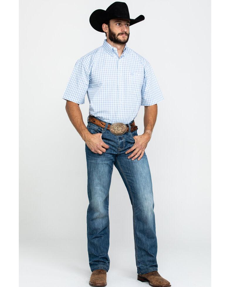 George Strait by Wrangler Men's Blue Small Plaid Short Sleeve Western Shirt - Big , Blue, hi-res