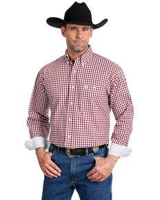 George Strait by Wrangler Men's Burgundy Small Plaid Long Sleeve Western Shirt - Big , Burgundy, hi-res