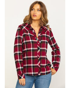 Idyllwind Women's Stay Awhile Wine Flannel Shirt, Wine, hi-res
