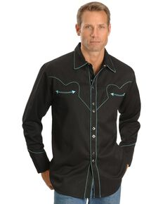 Scully Men's Long Sleeve Western Shirt, Black, hi-res
