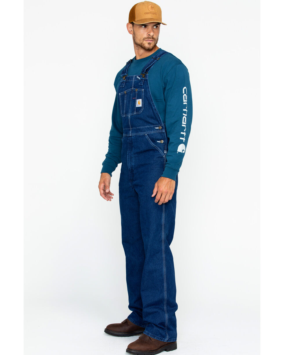Carhartt Men's Washed-Denim Bib Unlined Overalls, Blue, hi-res