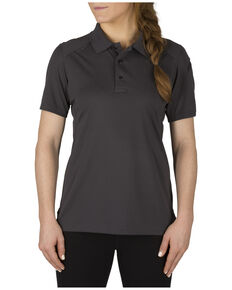 5.11 Tactical Womens Helios Short Sleeve Polo, Charcoal Grey, hi-res