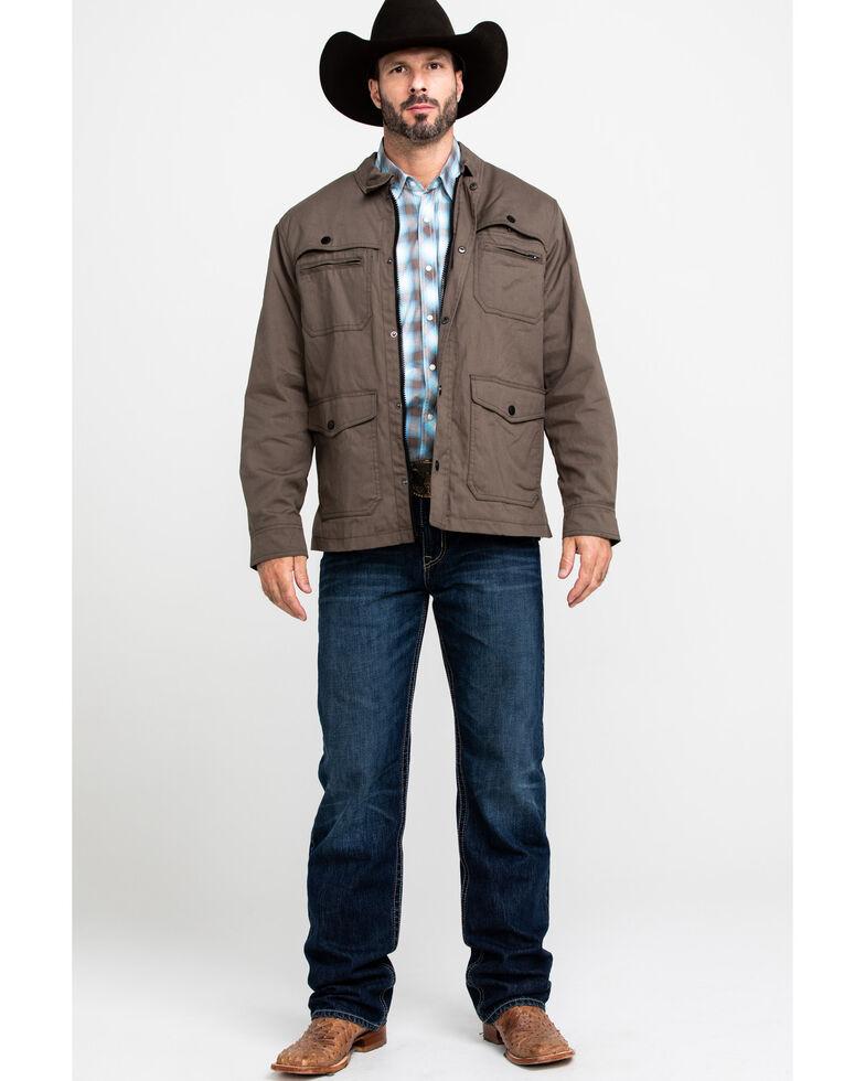 Resistol Men's Justin Plaid Oil Skin Zip Jacket , Dark Green, hi-res