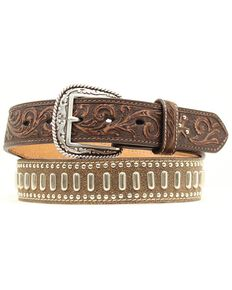Ariat Floral Tooled Textured & Studded Leather Belt, Brown, hi-res