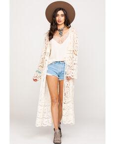 95788878fac5e4 Bodywaves Women's White Lace Bell Sleeve Kimono
