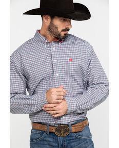 Cinch Men's White Small Plaid Plain Weave Long Sleeve Western Shirt , White, hi-res