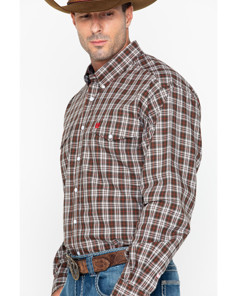 Cinch Men's Brown Plaid Double Pocket Long Sleeve Shirt, Brown, hi-res