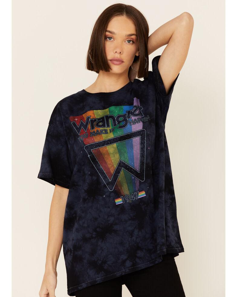 Wrangler Modern Women's Tie Dye Oversized Rainbow Logo Graphic Tee , Black, hi-res