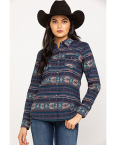 Roper Women's Blue Aztec Long Sleeve Shirt, Blue, hi-res