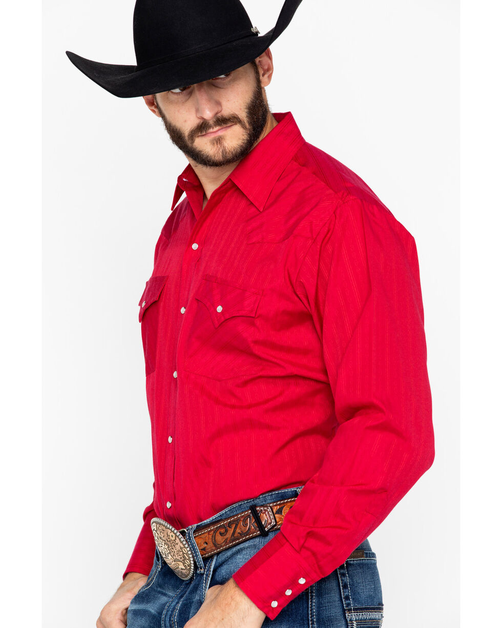 Ely Cattleman Men's Tone Striped Long Sleeve Western Shirt , Red, hi-res