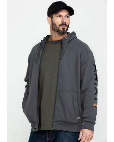 Ariat Men's Grey Rebar All-Weather Full Zip Work Hoodie - Big & Tall , Grey, hi-res