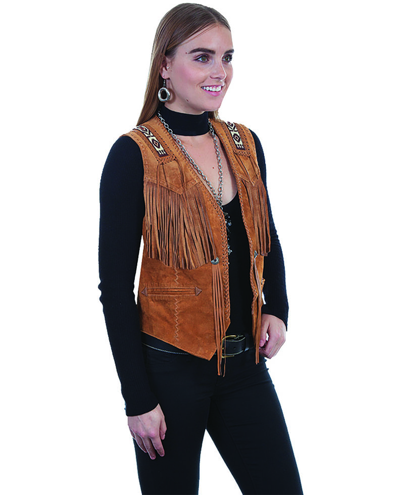 Leatherwear by Scully Women's Boar Suede Beaded Fringe Vest, Tan, hi-res