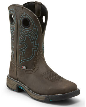 Justin Men's Stampede Rush Western Work Boots - Steel Toe, Grey, hi-res