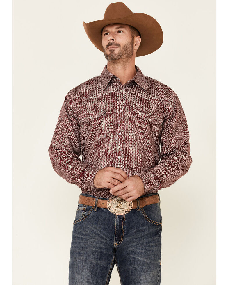 Cowboy Hardware Men's Burgundy Pitchfork Print Long Sleeve Snap Western Shirt , Burgundy, hi-res