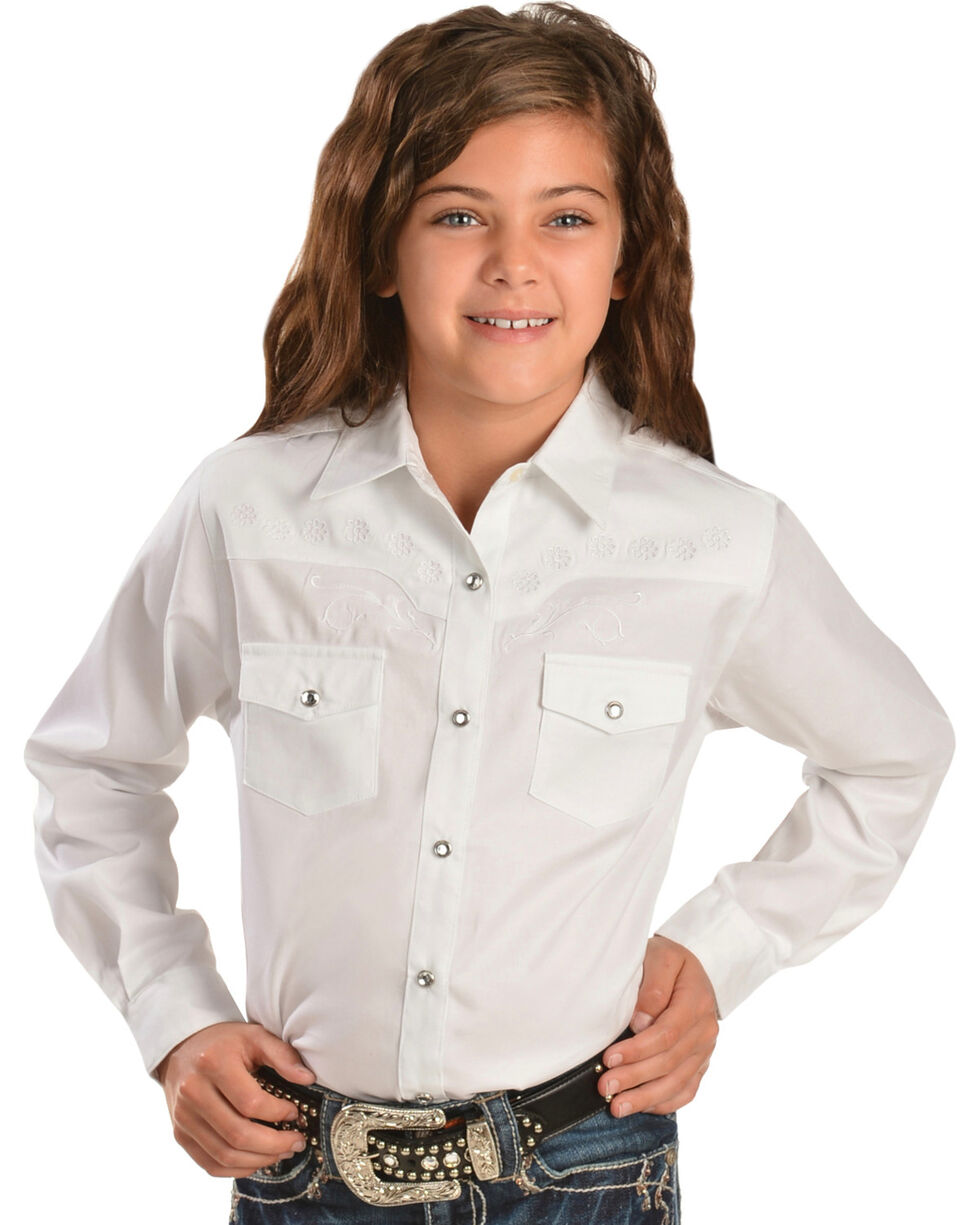 Wrangler Kid's Embroidered Long Sleeve Western Shirt, White, hi-res