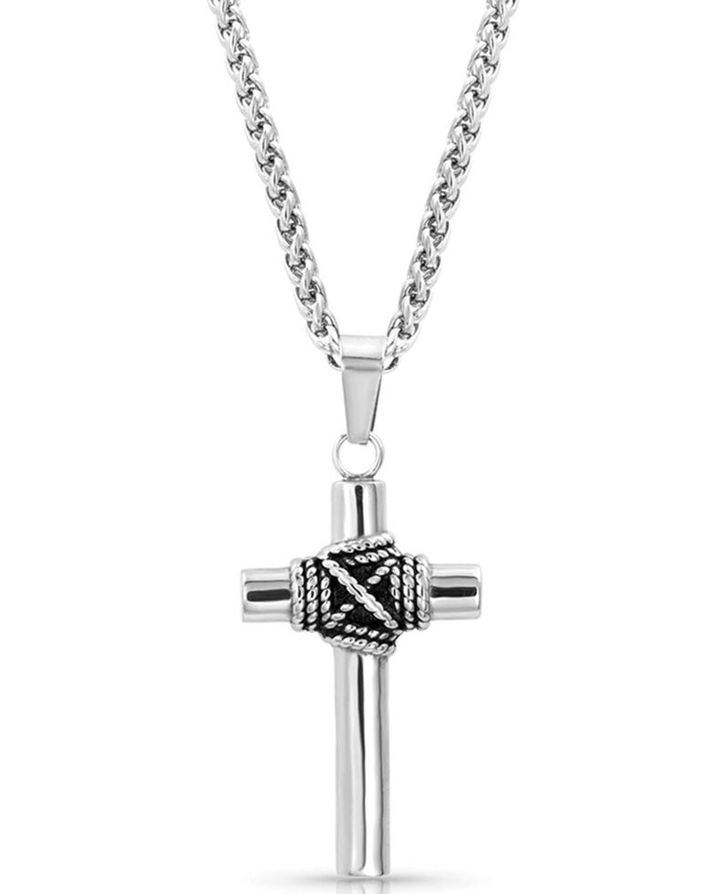 Montana Silversmiths Men's Rope Wrapped Cross Necklace, Silver, hi-res