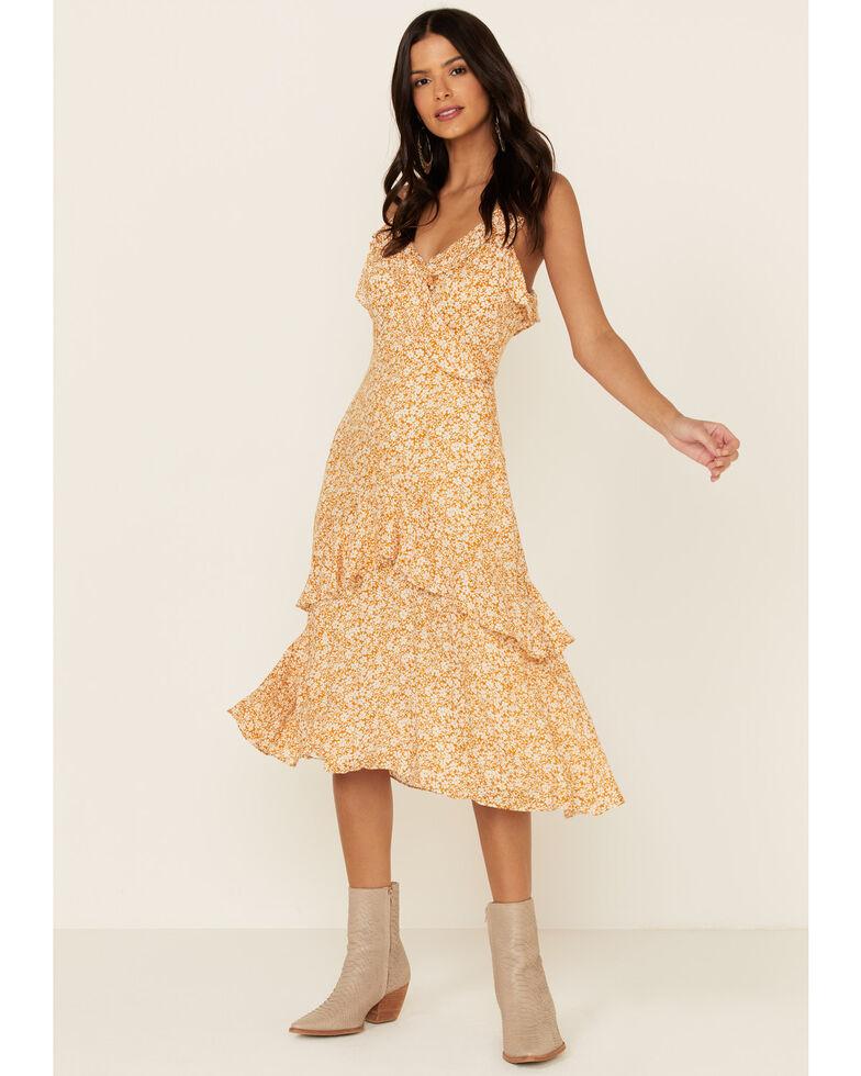 Miss Me Women's Mustard Floral Ruffle Midi Dress, Mustard, hi-res