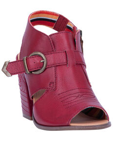 Dingo Women's Stirrup Harness Fashion Booties - Peep Toe, Red, hi-res
