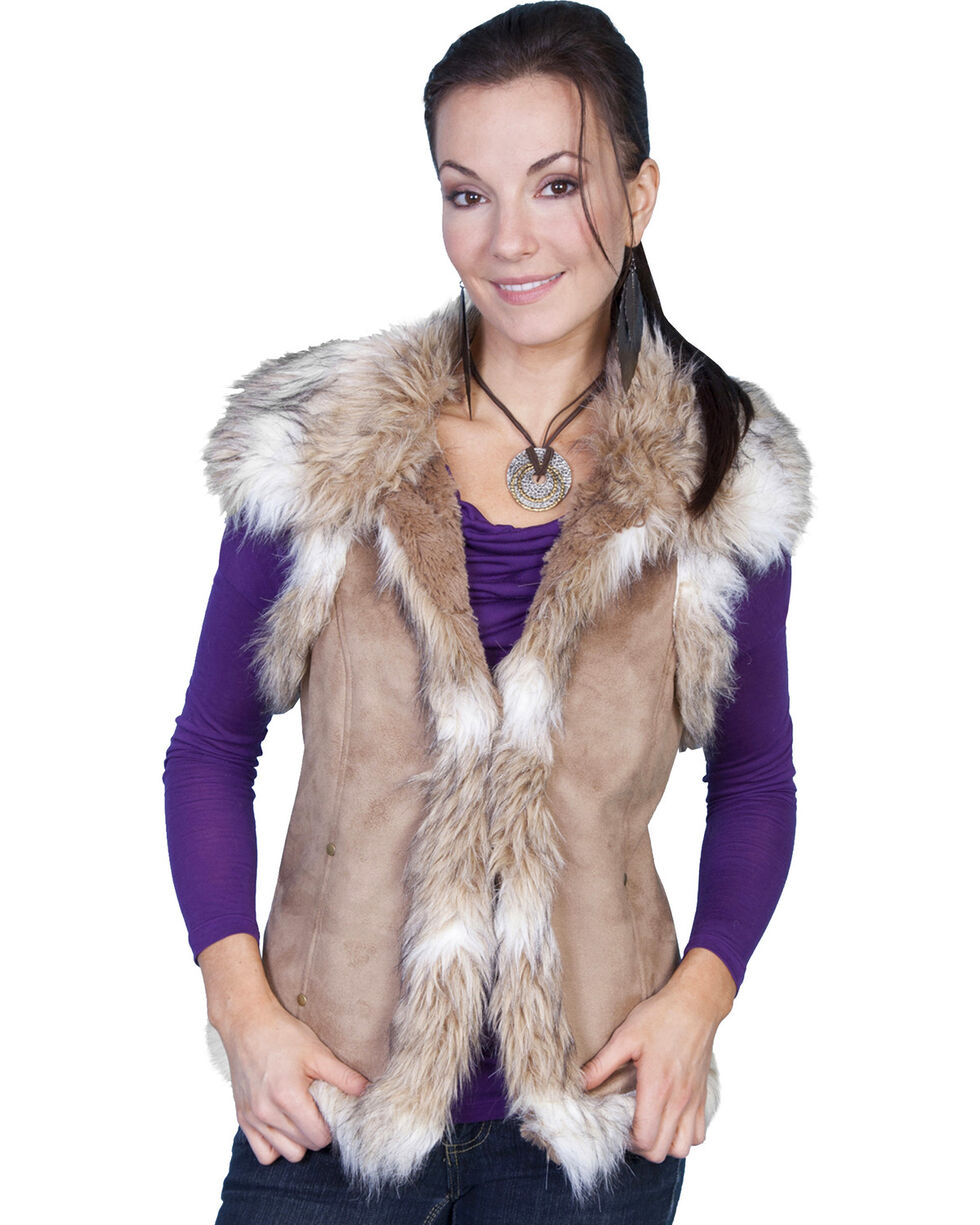 Scully Women's Suede Faux Fur Vest, Hazelnut, hi-res