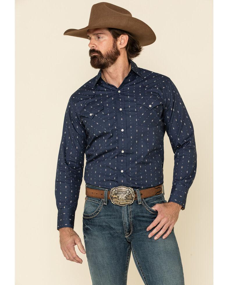 Ely Walker Men's Navy Aztec Geo Print Long Sleeve Western Shirt , Navy, hi-res