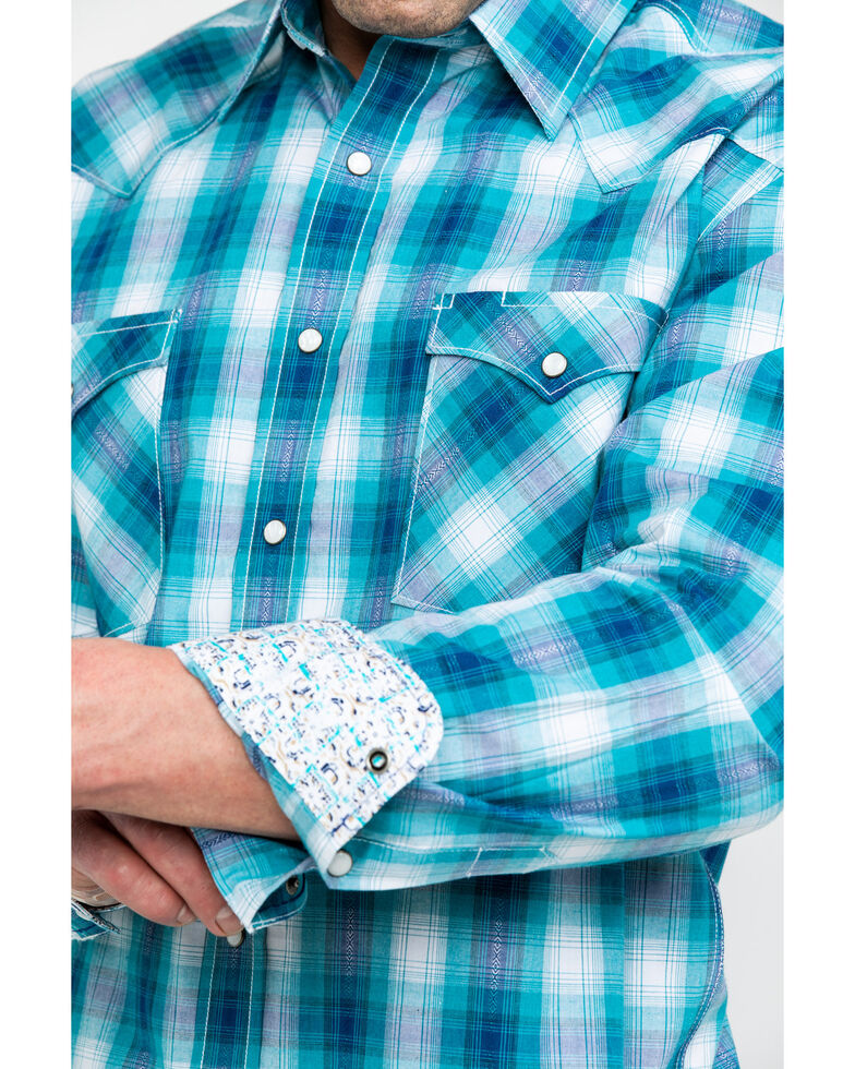 Rough Stock by Panhandle Men's Bernal Ombre Plaid Long Sleeve Western Shirt , Teal, hi-res