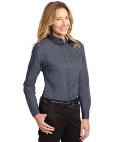 Port Authority Women's Steel Grey & Light Stone 2X Easy Care Long Sleeve Shirt - Plus, Multi, hi-res