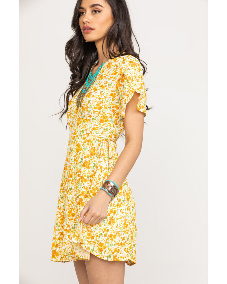 Coco + Jaimeson Women's Ivory Floral Wrap Dress, Natural, hi-res