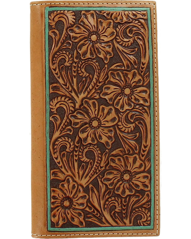 Ariat Men's Floral Embossed Border Rodeo Wallet, Tan, hi-res