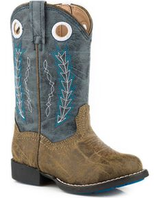 Roper Toddler Girls' Hole In The Wall Red Embroidered Cowboy Boots - Round Toe, Blue, hi-res