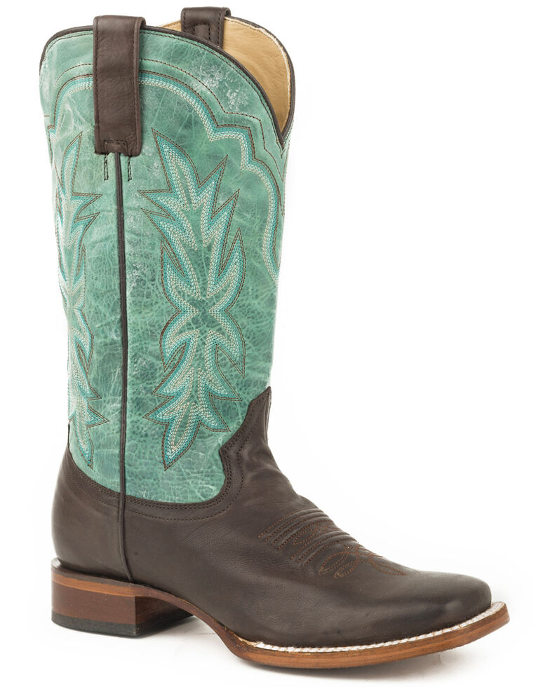 stetson women s brown jessica leather boots square toe boot barn