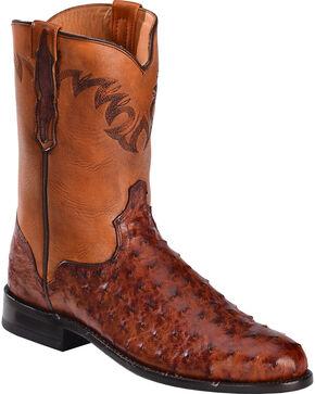 El Dorado Men's Full Quill Ostrich Roper Boots – Round Toe, Cognac, hi-res