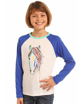 Rock & Roll Cowgirl Women's Watercolor Horse Baseball Tee, Ivory, hi-res