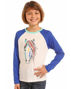 0b2fb257 Rock & Roll Cowgirl Girls Watercolor Horse Baseball Tee, Ivory, hi-res