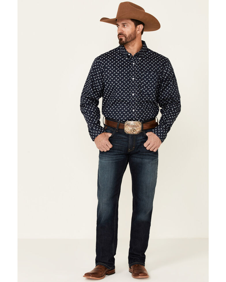 Cody James Core Men's Range Small Paisley Print Long Sleeve Button-Down Western Shirt , Navy, hi-res