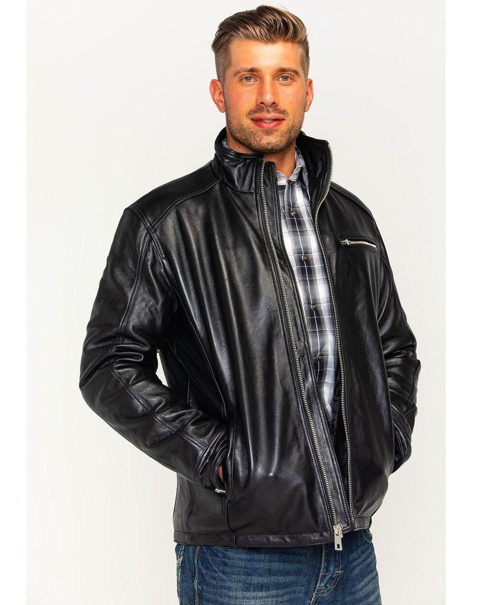 Vintage Leather Men's Lambskin Racing Jacket, Black, hi-res