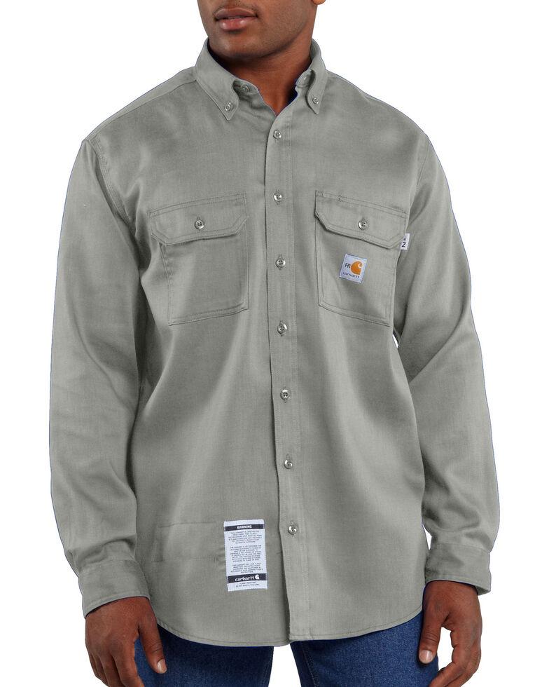 Carhartt Men's Long Sleeve Flame Resistant Dry Twill Work Shirt, Grey, hi-res