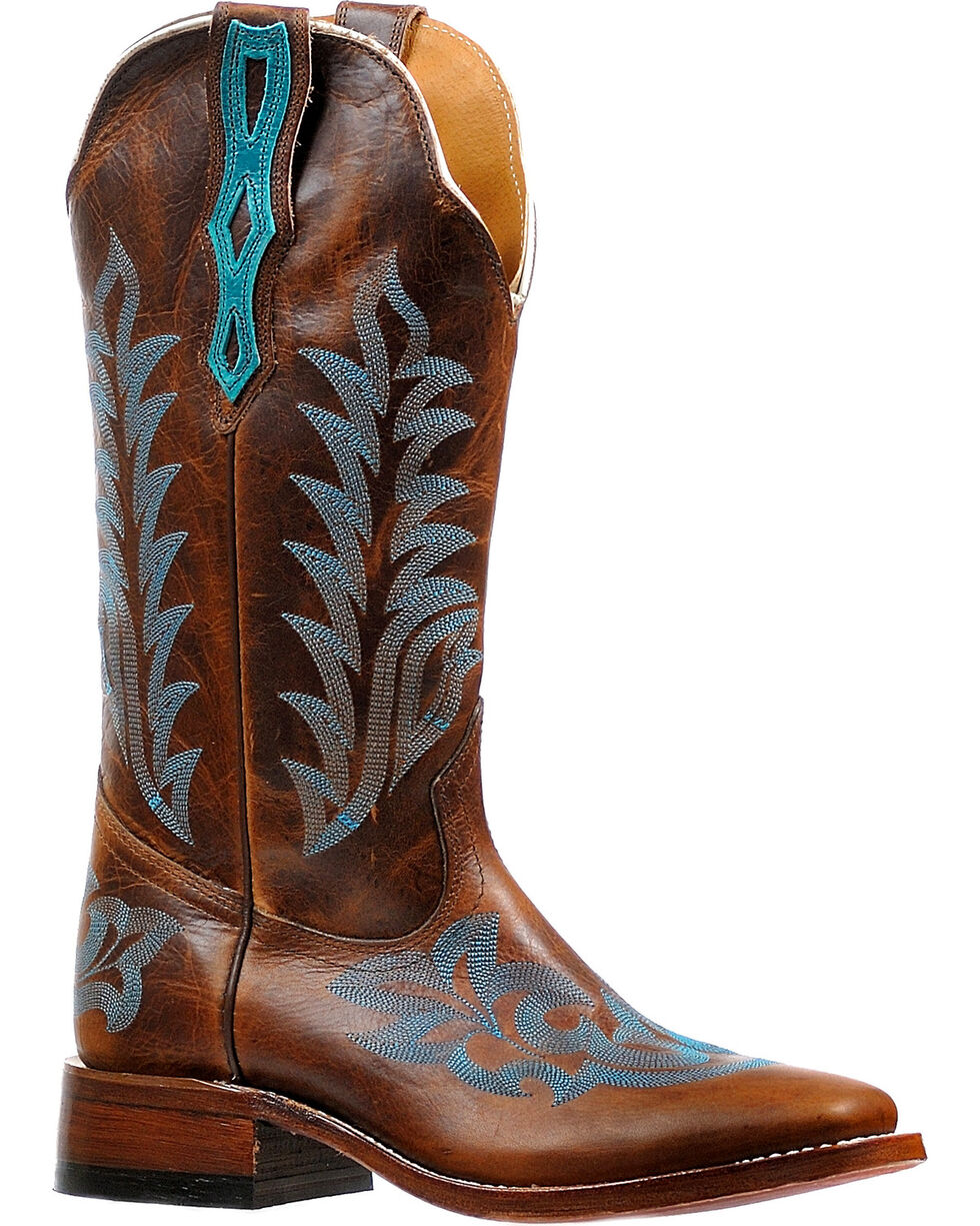 Boulet Women's Damiano Moka West Turqueza Stockman Cowgirl Boots - Square Toe, Brown, hi-res