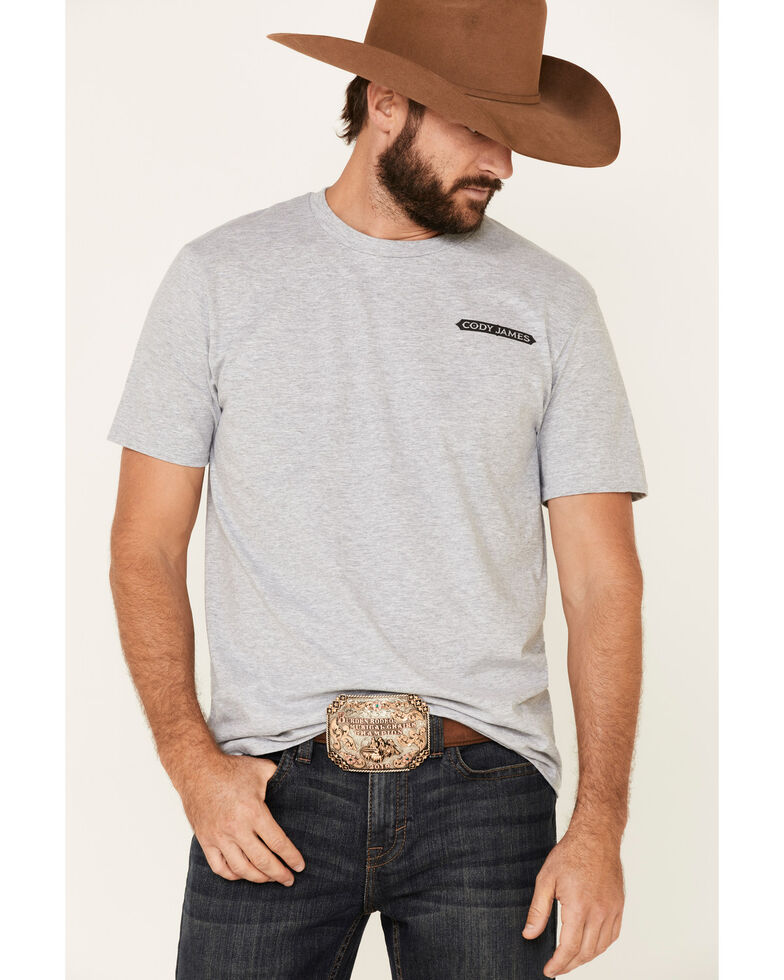 Cody James Men's Grey Luck Of The Draw Graphic T-Shirt , Heather Grey, hi-res
