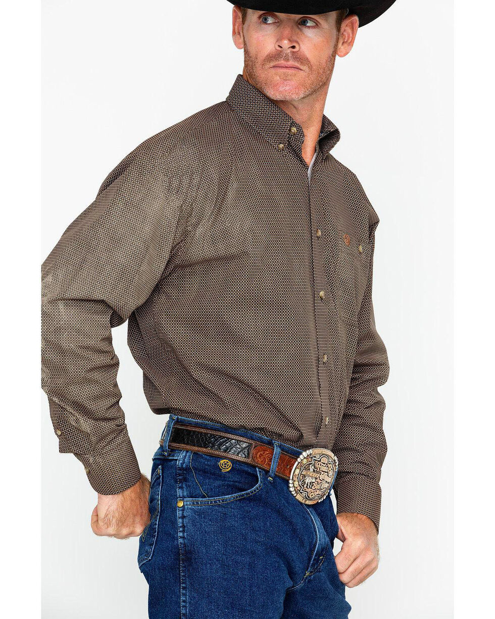 Wrangler Men's George Strait Long Sleeve Shirt , Tan, hi-res