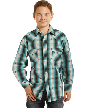 Rock & Roll Cowboy Boys' Teal Plaid Shirt , Green, hi-res
