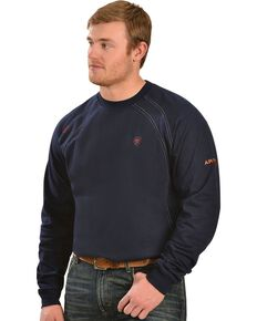 Ariat Men's Knit Fire Resistant Work Crew Long Sleeve, Navy, hi-res