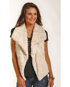 Powder River Outfitters Women's Micro Fur Swing Vest, Cream, hi-res
