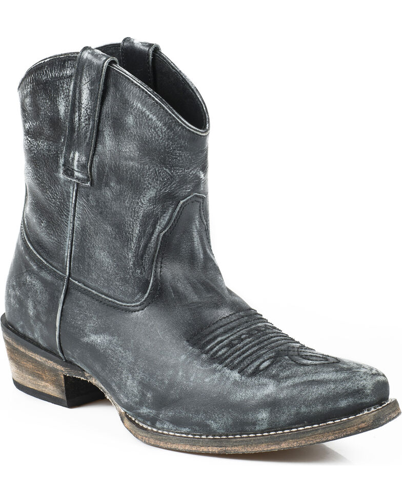 Roper Women's Distressed Snip Toe Short Western Boots, Black, hi-res