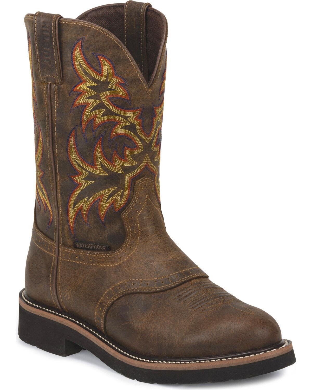 Wonderful Justin Menu0027s Rugged Stampede Waterproof Work Boots, Brown, Hi Res