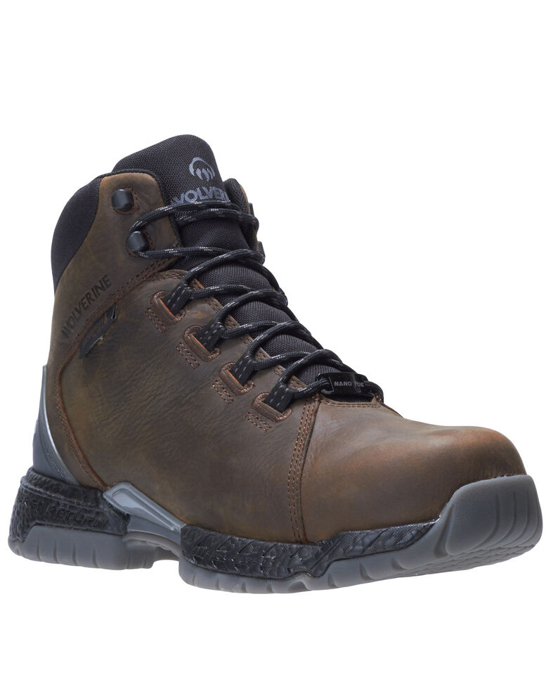 Wolverine Men's I-90 Rush Waterproof Work Boots - Composite Toe, Dark Brown, hi-res
