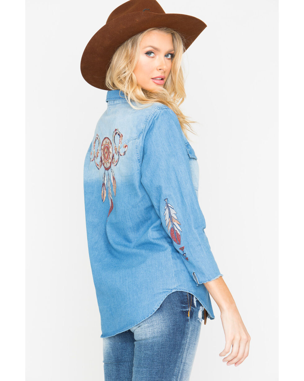 Miss Me Women's Dream Catcher Long Sleeve Denim Shirt, Indigo, hi-res