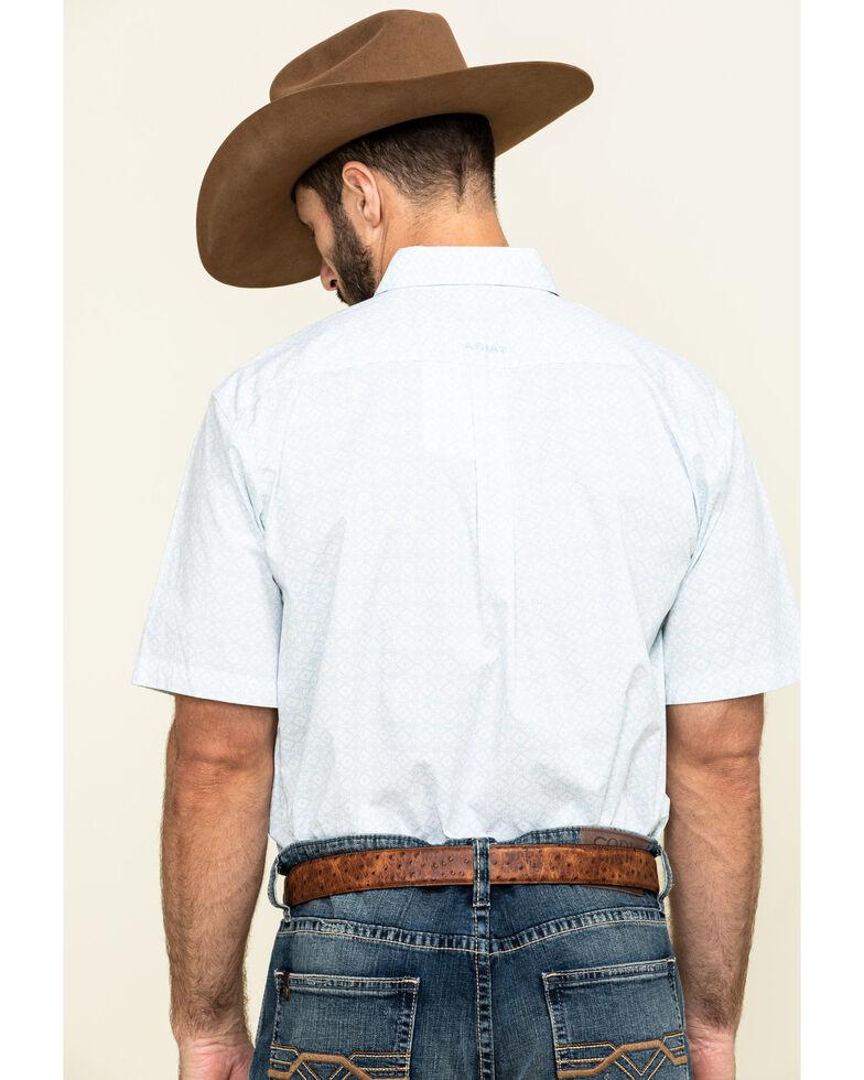 Ariat Men's Nothell Stretch Aztec Print Short Sleeve Western Shirt - Tall , Blue, hi-res