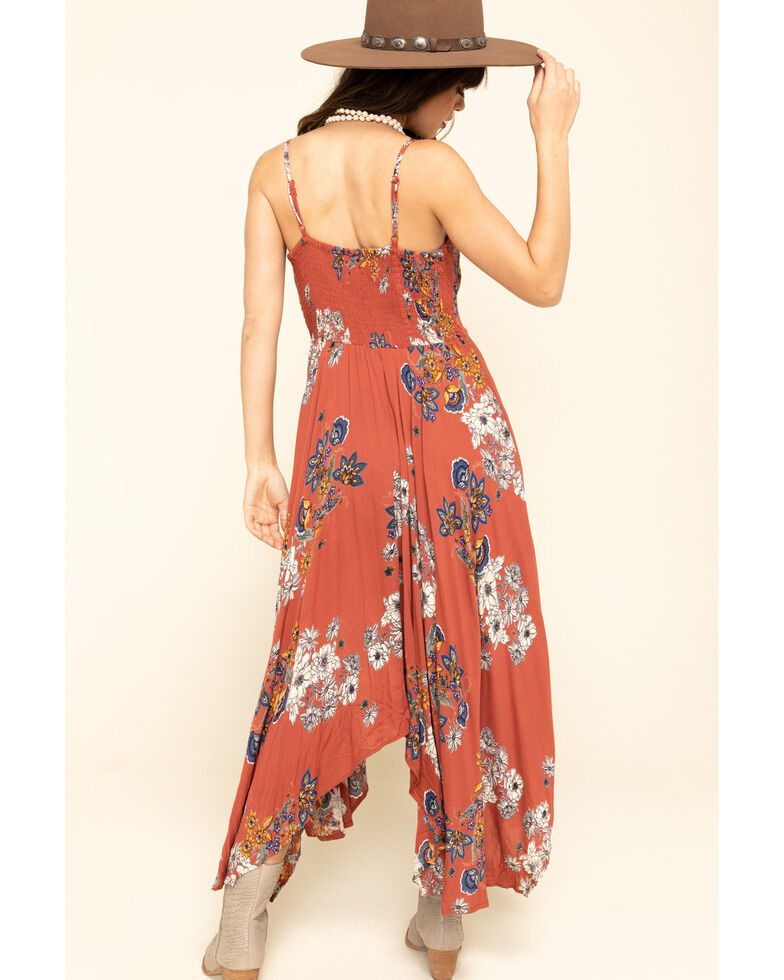 Angie Women's Rust Floral Embroidered Stripe Hanky Hem Dress , Rust Copper, hi-res